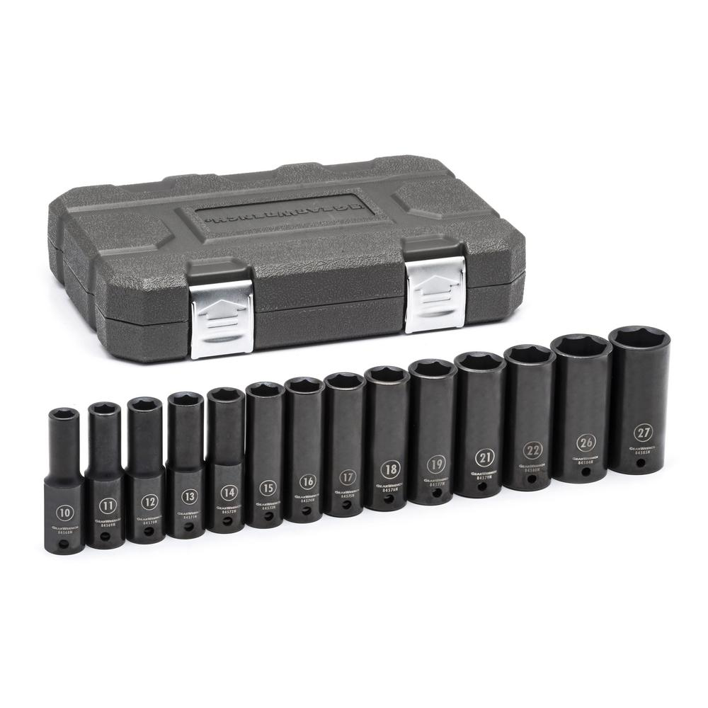 1/2 in. Drive Metric Deep Socket Set (14-Piece)