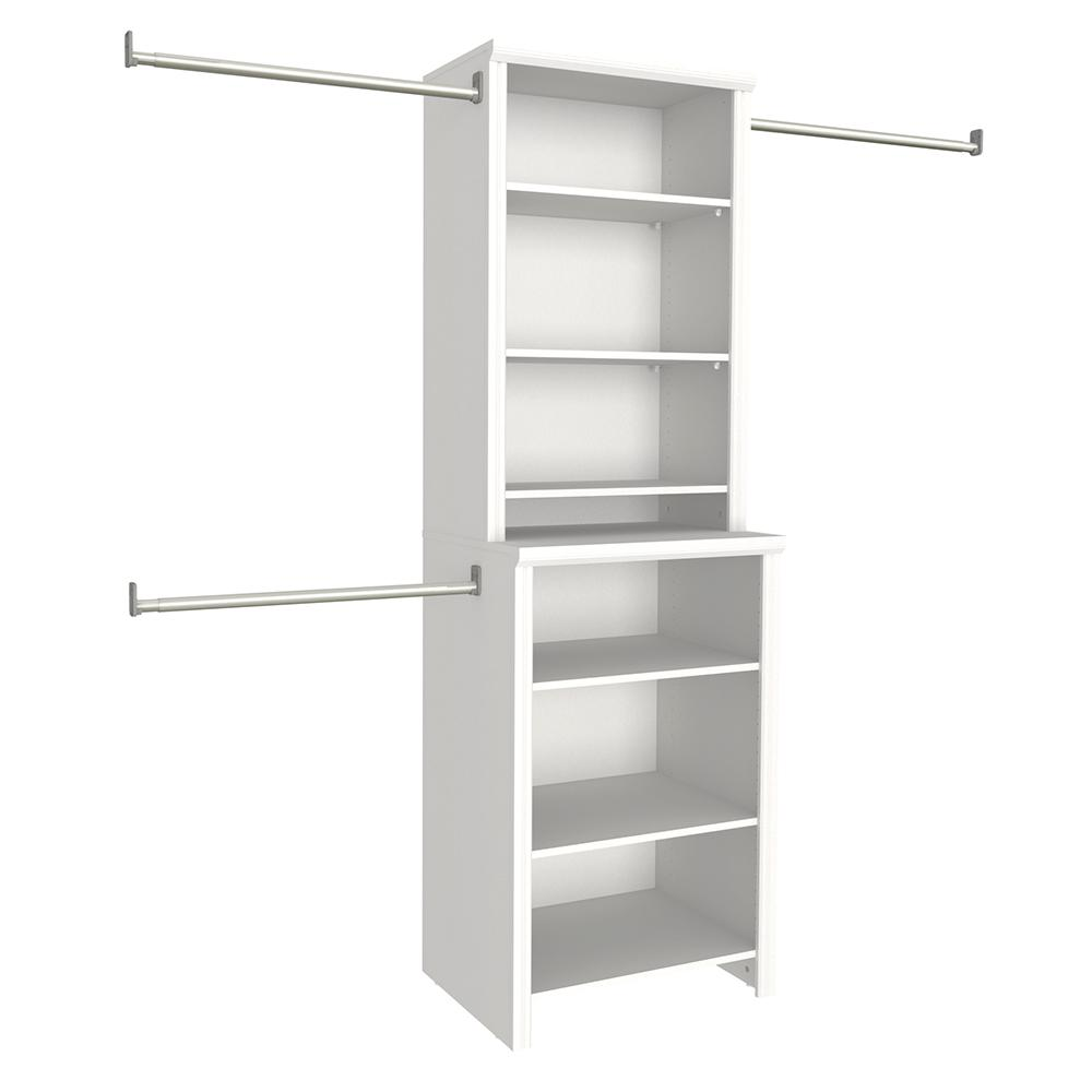 Closetmaid impressions 25 in white deluxe hutch closet kit 14885 the home depot - Hardwood closet organizers ...