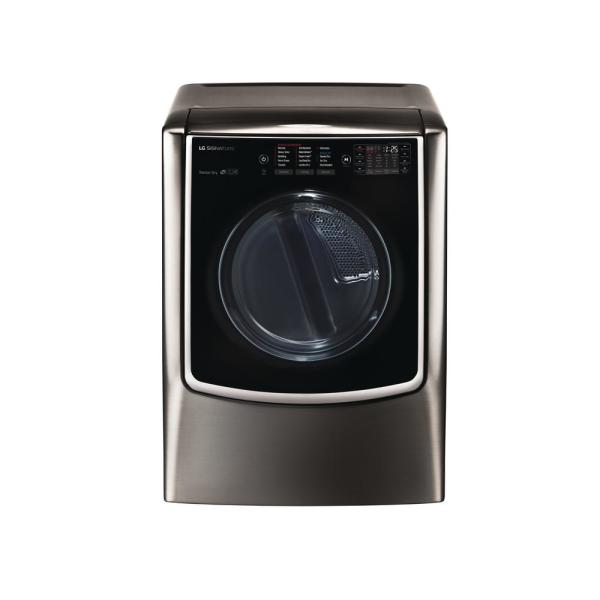 9.0 cu. ft. Mega Capacity Smart Front Load Gas Dryer with TurboSteam and Pedestal Compatible in Black Stainless Steel