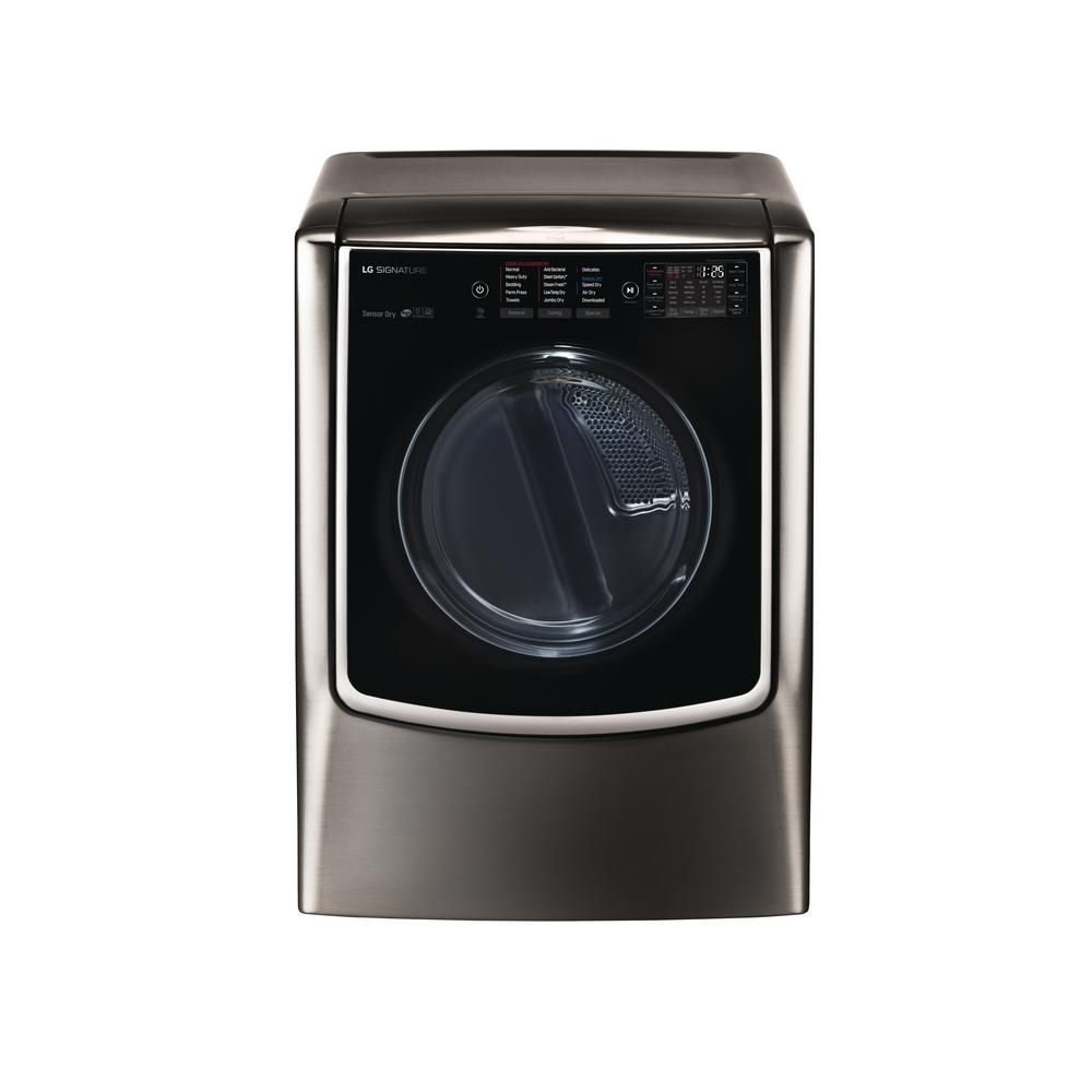 LG SIGNATURE 9.0 cu. ft. Mega Capacity Smart Front Load Gas Dryer with TurboSteam and Pedestal Compatible in Black Stainless Steel