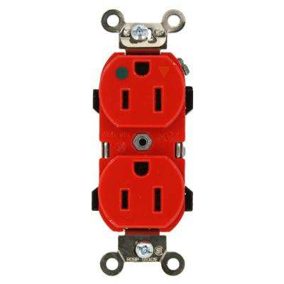 15 Amp Hospital Grade Extra Heavy Duty Isolated Ground Duplex Outlet, Red