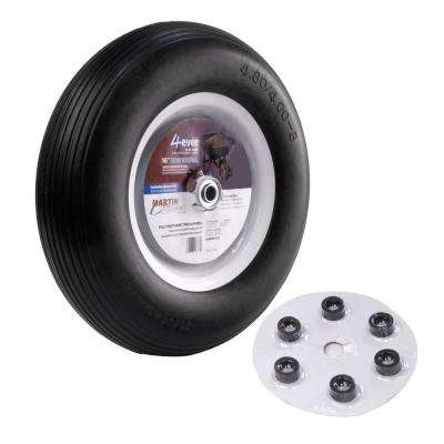 480/400-8 16 in  Flat Free Wheelbarrow and Garden Cart Wheel with Universal  Hub 3/4 in  Ball Bearing