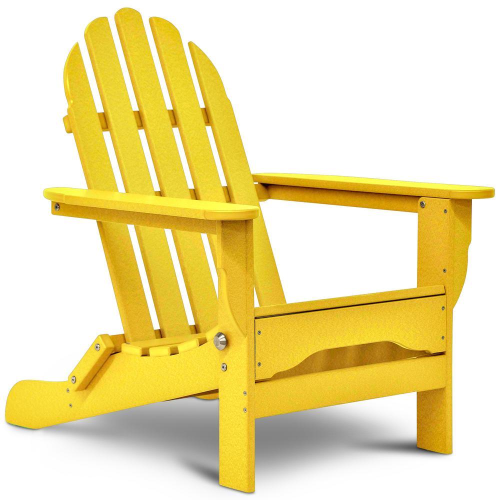 Icon Lemon Yellow Plastic Folding Adirondack Chair