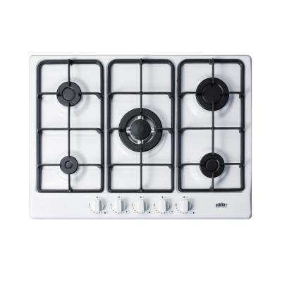 27 in. Gas Cooktop in White with 5 Burners including Power Burner
