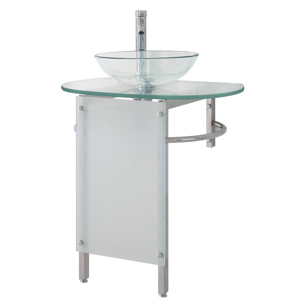 Kokols Pedestal Combo Bathroom Sink in Clear