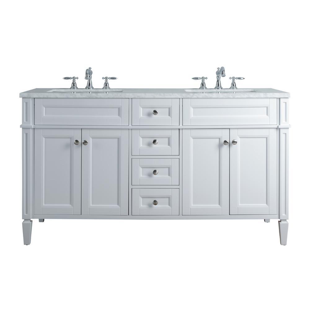 Stufurhome French In White Double Sink Vanity Marble Vanity Top White Basin