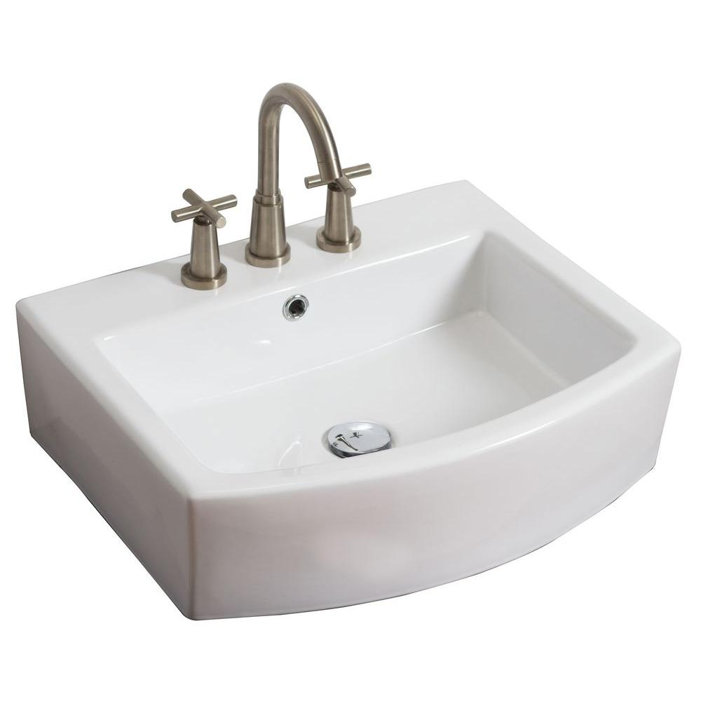 American Imaginations 22-in. W x 20-in. D Above Counter Rectangle Vessel Sink In White Color For 8-in. o.c. Faucet