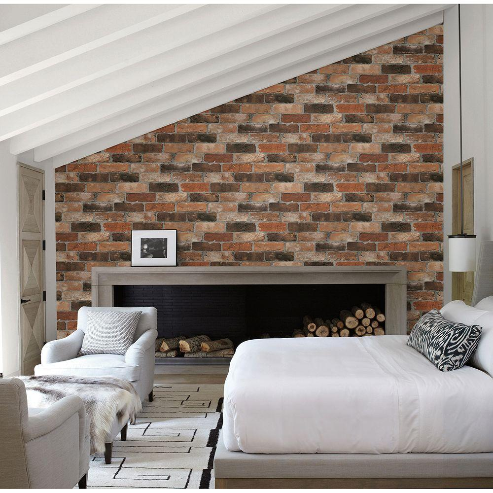 Orange Reclaimed Bricks Rustic Wallpaper