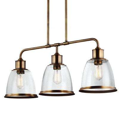 Hobson 3-Light Aged Brass Chandelier with Clear Seeded Glass Shade