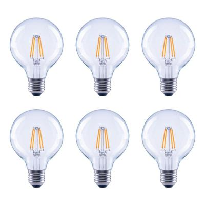 60-Watt Equivalent G25 Globe Vanity Clear Glass Vintage Edison Filament Dimmable LED Light Bulb Soft White (6-Pack)