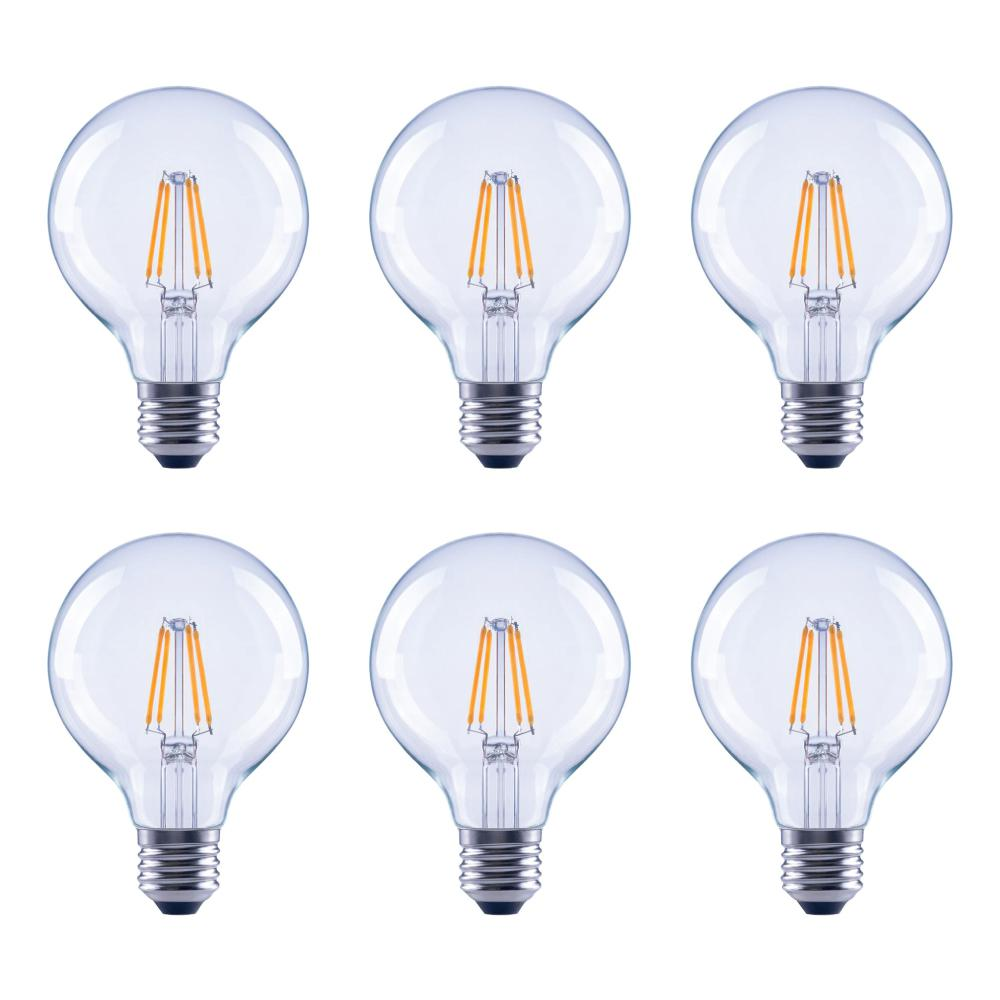 60 watt equivalent g25 globe vanity clear glass vintage edison filament dimmable led light bulb. Black Bedroom Furniture Sets. Home Design Ideas