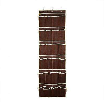 Brown Fabric Over The Door Hanging Shoe Organizer