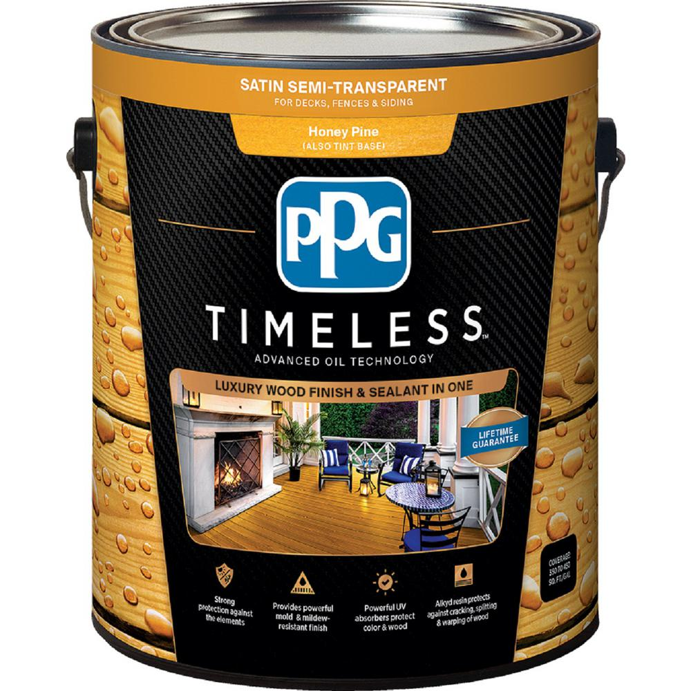 ppg timeless 1 gal tsn 51 honey pine satin semi transparent advanced oil exterior wood stain