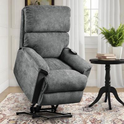 Gray Power Lift Chair with Massage Soft Fabric Upholstery Recliner Chair with Remote
