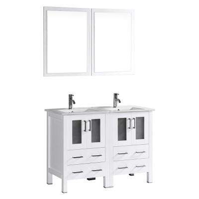 Bosconi 48 in. W Double Bath Vanity in White with Ceramic Vanity Top with White Basin and Mirror