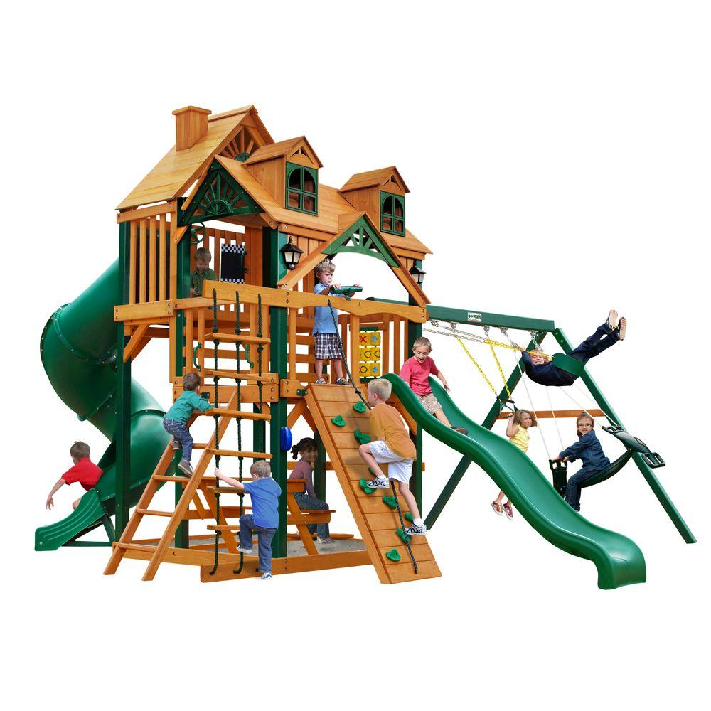 gorilla playsets malibu deluxe i swing set with timber shield 01