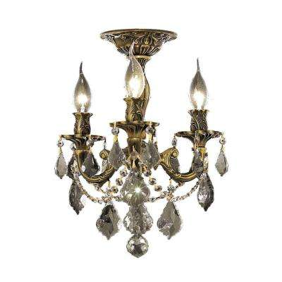 3-Light Antique Bronze Flushmount with Clear Crystal