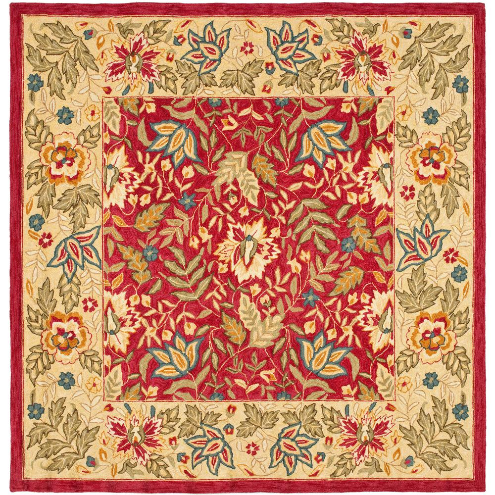 Chelsea Red/Ivory 6 ft. x 6 ft. Square Area Rug