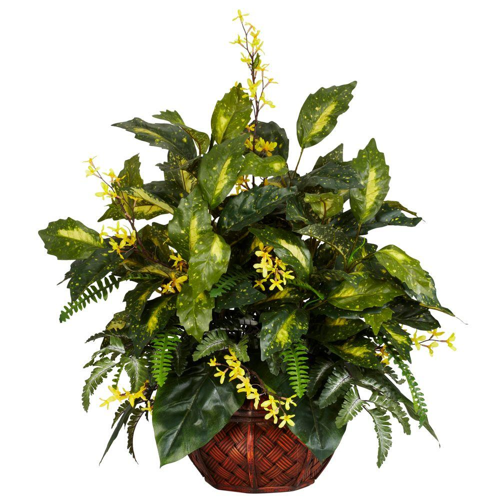 Nearly Natural 27 in. H Green Forsythia and Mixed Greens Silk Plant