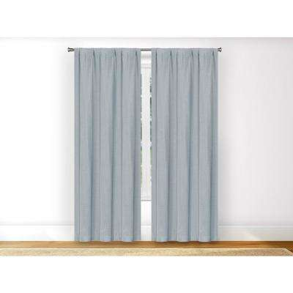 Erin Powder Blue Rod Pocket Pole Top Panel Pair - 38 in. W x 96 in. L in (2-Piece)