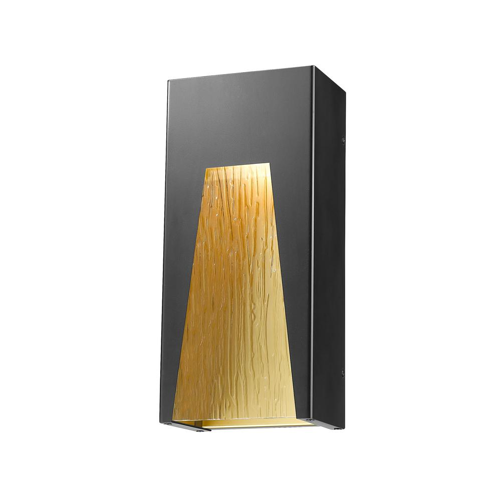Farran 75-Watt Equivalent Outdoor Black Gold Integrated LED Wall Mount Sconce