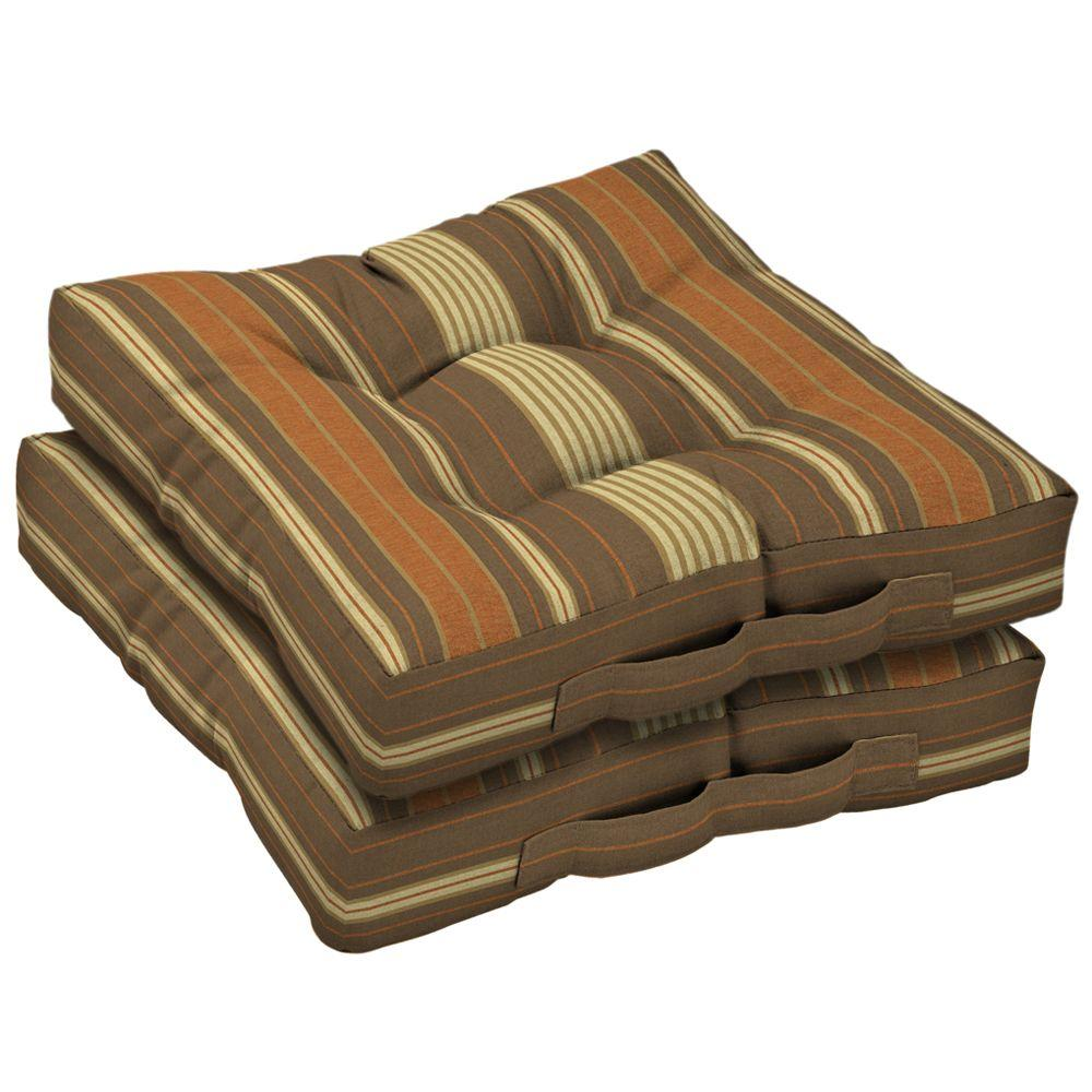 Arden Olivia Stripe Cocoa Deck Cushion (Set Of 2)-DISCONTINUED