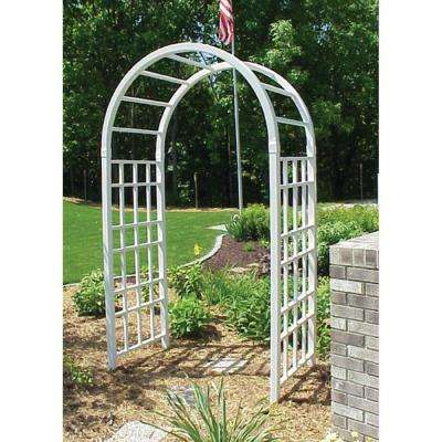 90 in. x 54 in. x 28 in. White Vinyl PVC Cottage Arbor