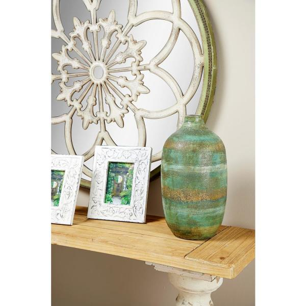 16 in. Hand-Painted Striped Brown and Green Ceramic Decorative Vase