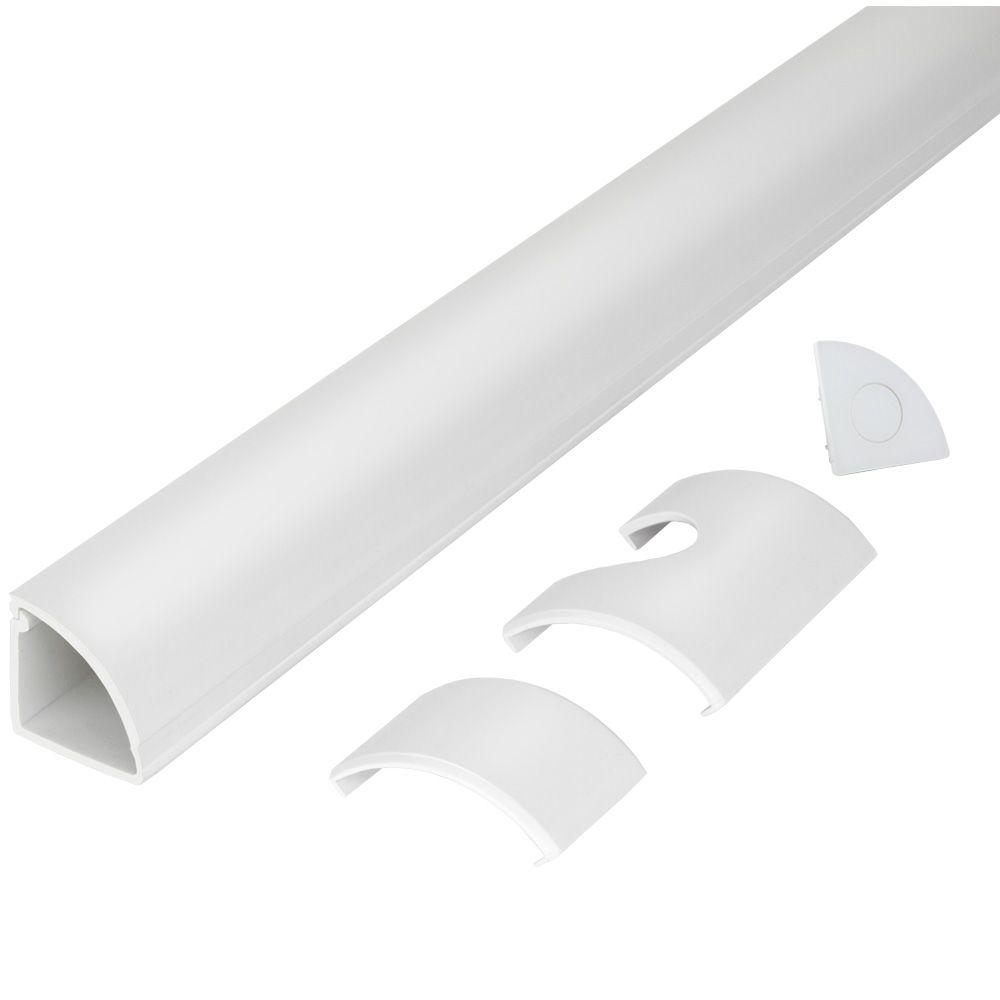CE TECH 5 ft. 1/4 Round Baseboard Cord Channel, White