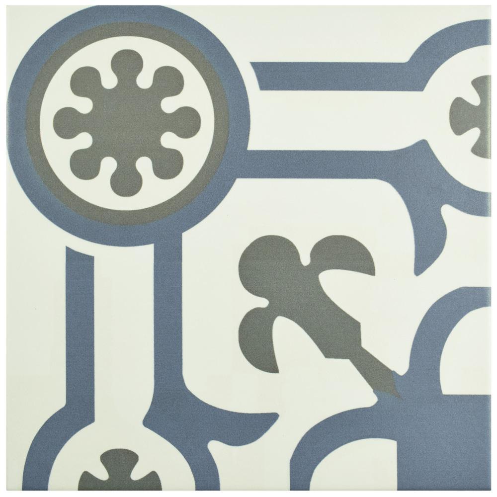 Hidraulico Ducados Angulo Encaustic 9-3/4 in. x 9-3/4 in. Porcelain Floor