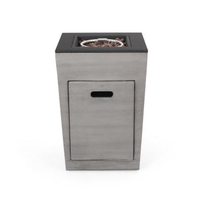 Langton 19.50 in. x 29 in. Rectangular Concrete Propane Fire Pit in Dark Grey