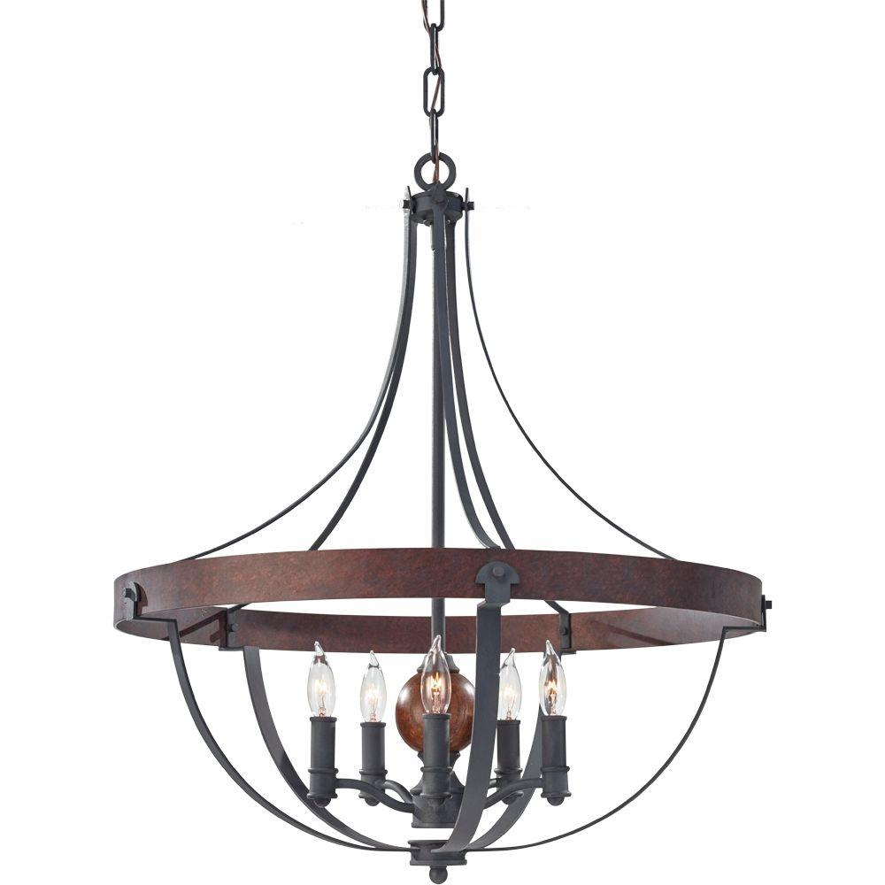 Feiss Alston 24 in. W. 5-Light Weathered Charcoal Brick/Antique Forged Iron Rustic Chandelier with Faux Wood Detail