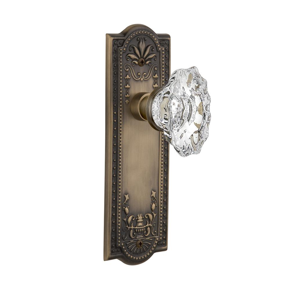 Meadows Plate 2-3/4 in. Backset Antique Brass Privacy Chateau Door Knob