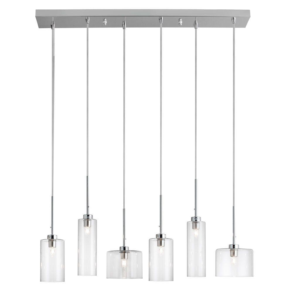 Radionic Hi Tech Chic 6 Light Polished Chrome Horizontal Pendant