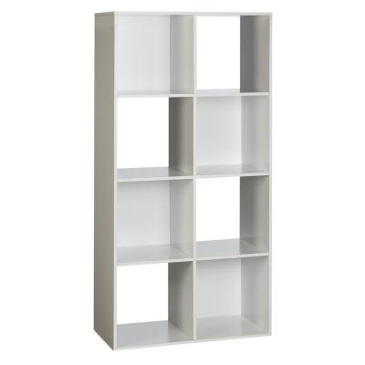 48 in. White Wood 8-shelf Cube Bookcase with Open Storage