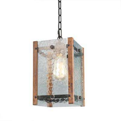 1-Light Water Glass Wood Pendant Light