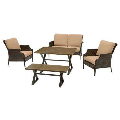 Grayson 5-Piece Brown Wicker Outdoor Patio Dining Set with CushionGuard Toffee Tan Cushions