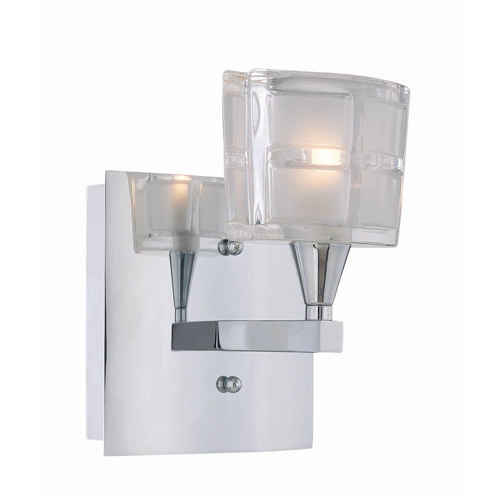 Illumine 1-Light Chrome Wall Lamp with Sand Blasted Glass by Illumine