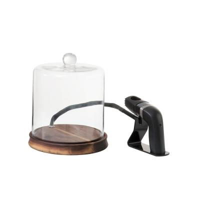 Crafthouse Glass Smoke Cloche with Smoker and Chips, Clear glass dome with wood base Entertaining and barware