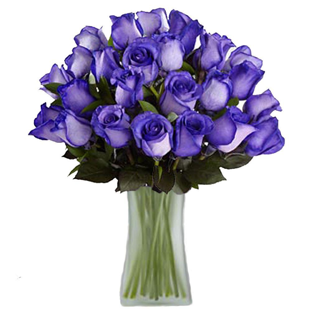 The Ultimate Bouquet Gorgeous Deep Purple Rose Bouquet in Clear Vase ...