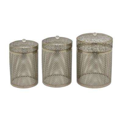 10.5 in. Metal Boxin in Silver (Set of 3)