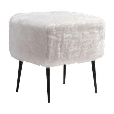 Fuzz White Accent Foot Stool