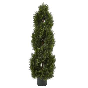 Nearly Natural Indoor And Outdoor 48 In Boxwood Spiral Topiary With Planter 5475 The Home Depot