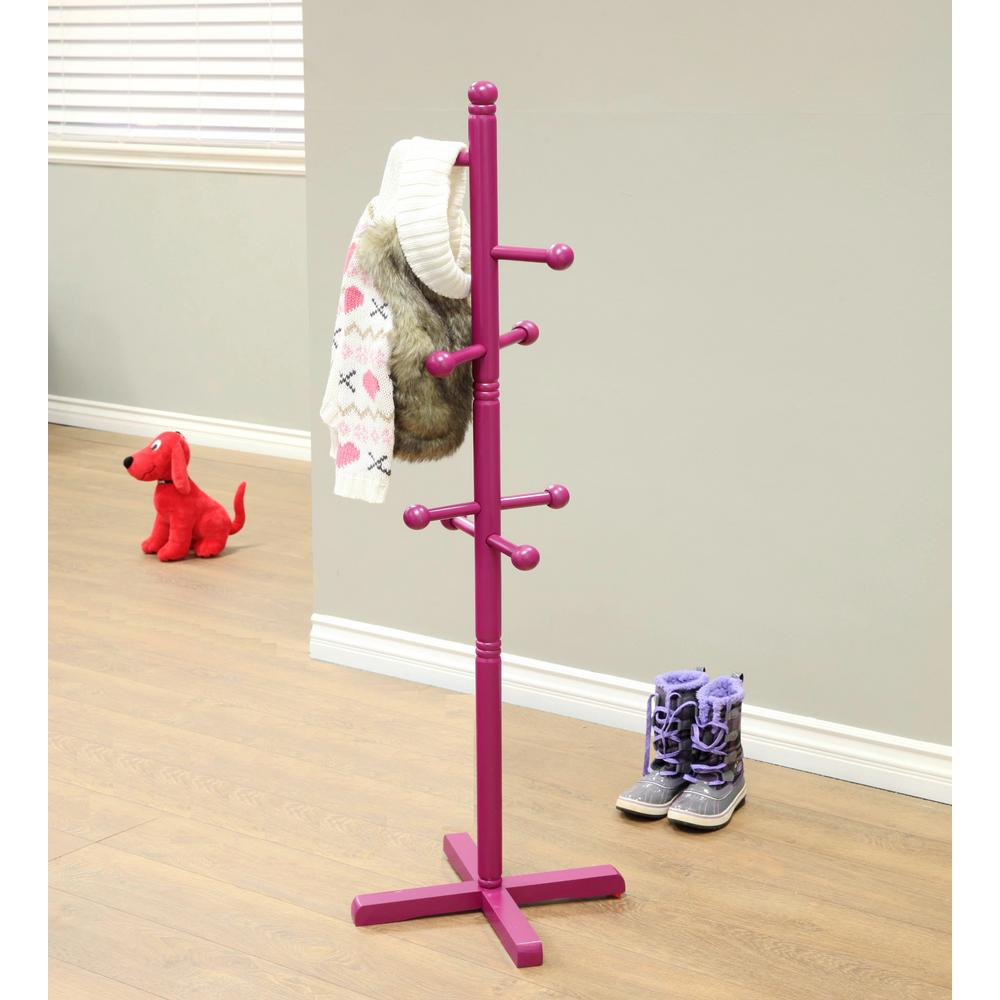Purple Coat Rack with 8-Hooks