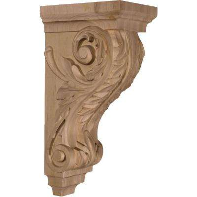 7 in. x 5 in. x 14 in. Unfinished Wood Mahogany Large Acanthus Corbel
