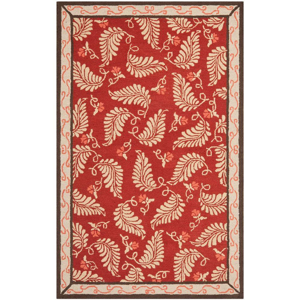 Safavieh Fern Frolic Saffron Red 5 ft. x 8 ft. Area Rug