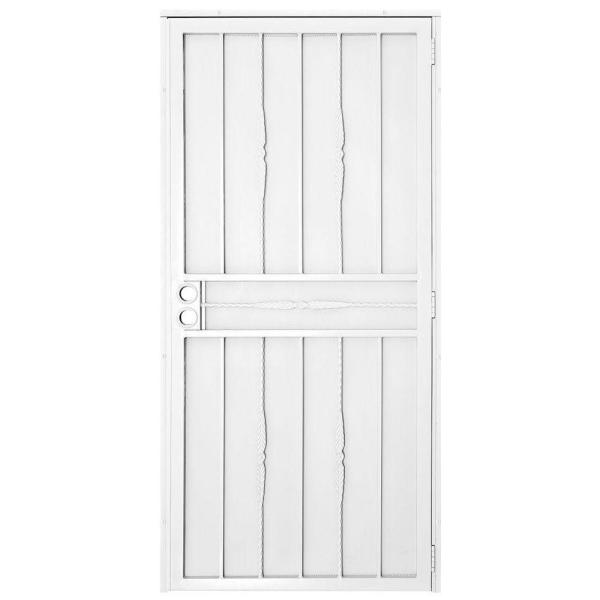 30 in. x 80 in. Cottage Rose White Surface Mount Outswing Steel Security Door with Expanded Metal Screen