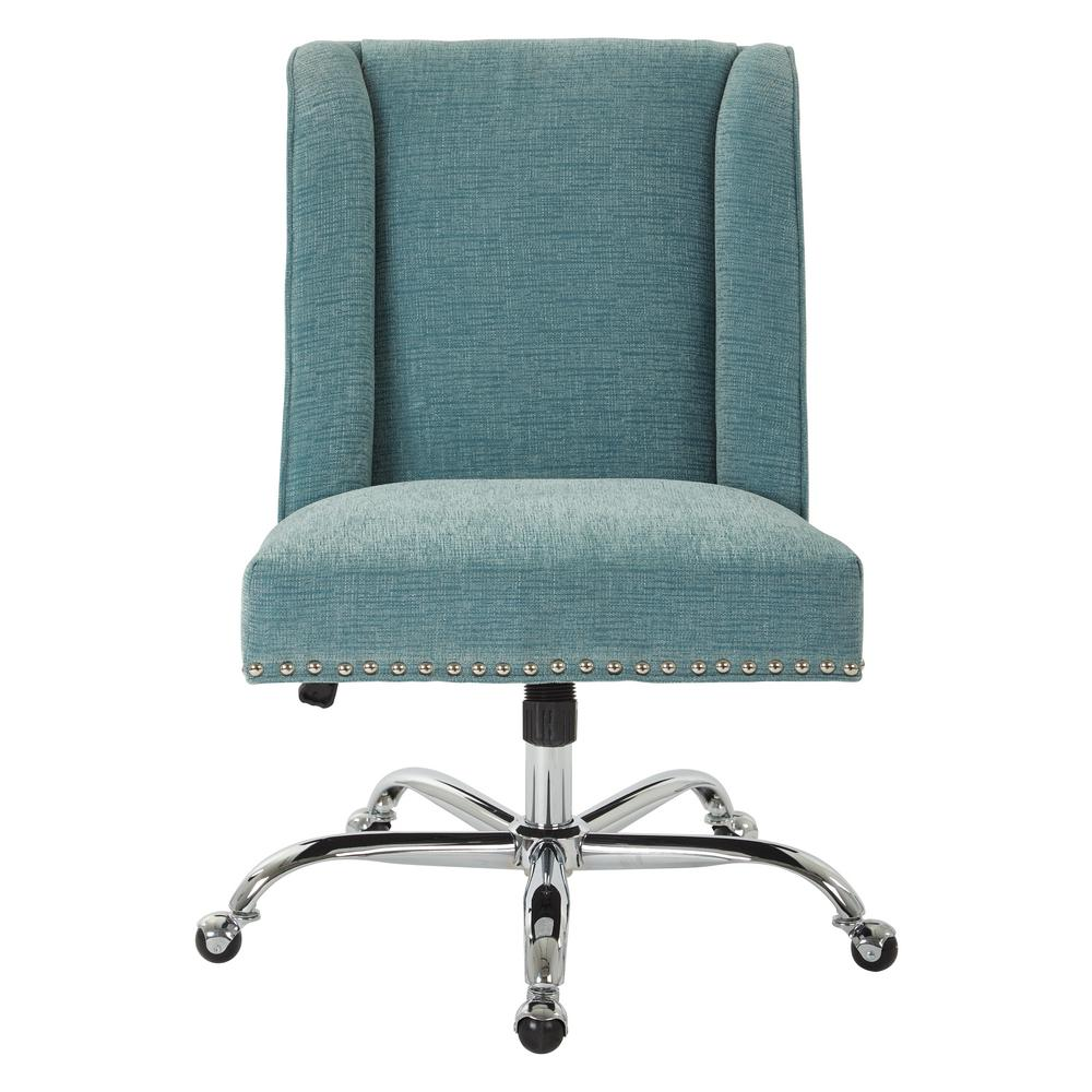 OSP Home Furnishings Alyson Managers Chair in Sky Fabric with Silver Nail Heads and Chrome Base, Blue OSP Home Furnishings Alyson Managers Chair in Sky Fabric with Silver Nail Heads and Chrome Base, Blue.