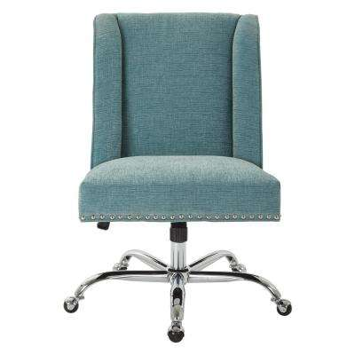 Alyson Managers Chair in Sky Fabric with Silver Nail Heads and Chrome Base