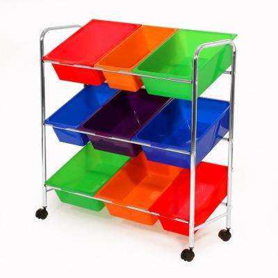 32 in. x 34 in. Multi Color 9-Bin Storage Organizer